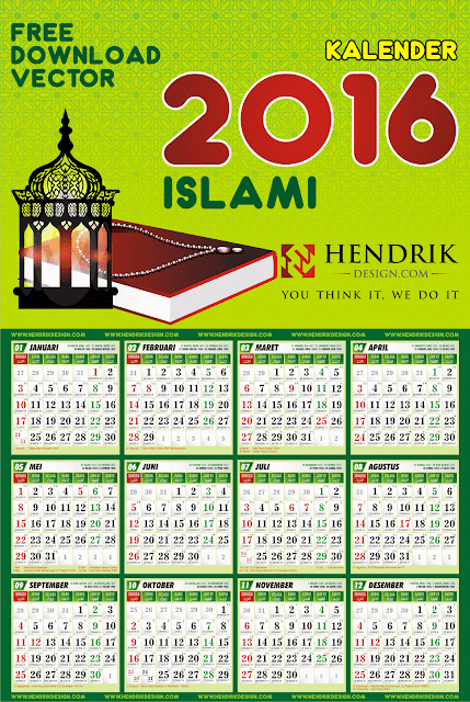 ... Kalender 2016 cdr vector komplit islami bonus jadwal sholat lengkap