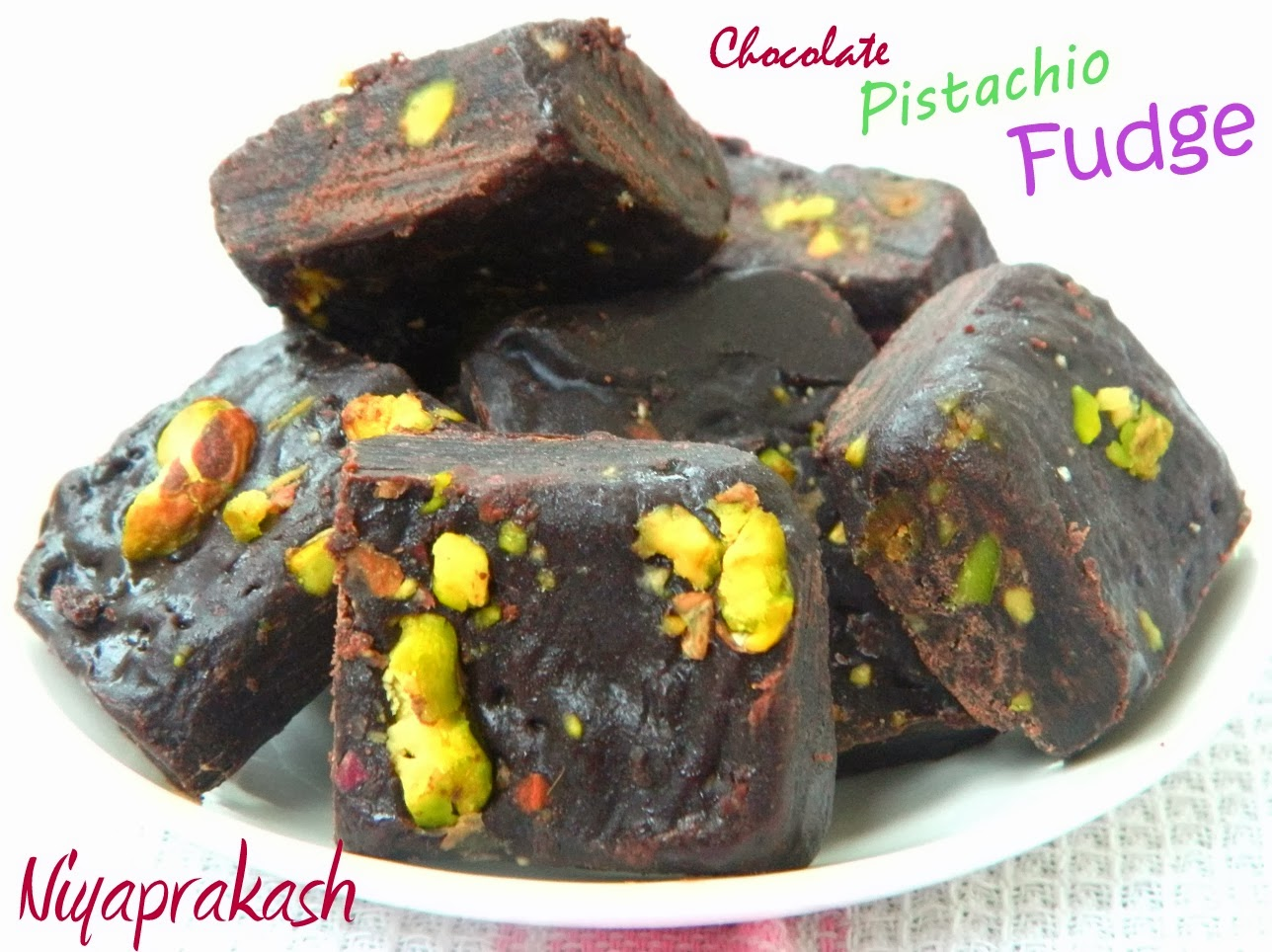 Niya's World: Chocolate Pistachio Fudge (Recipe from Nigella Lawson)
