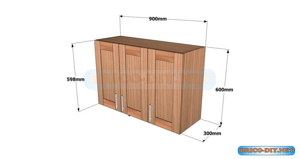 Planos detallados para hacer un mueble alto de cocina de for Disenos de muebles para cocina en madera