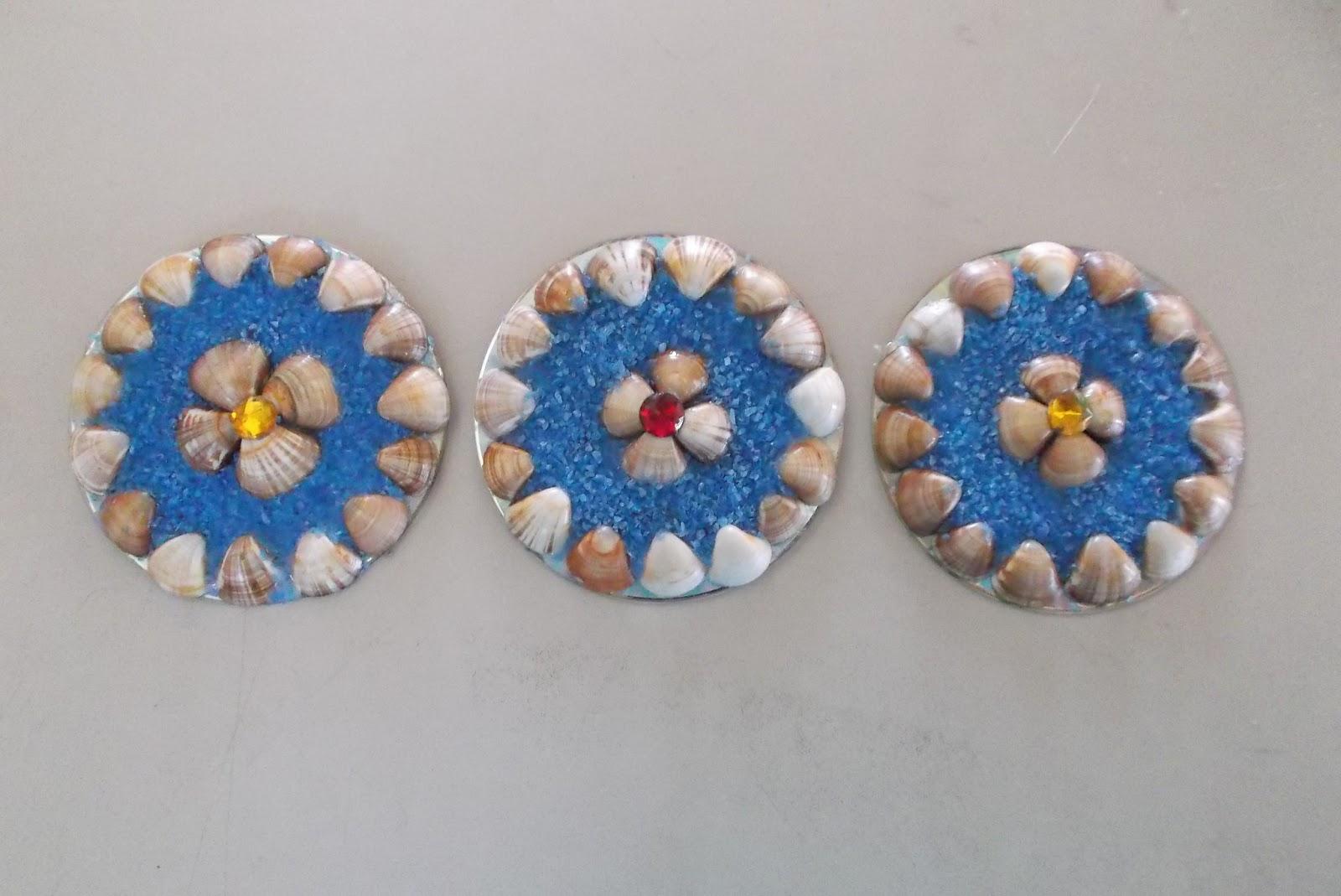 Artesanato Com Argila Simples ~ Oficina de Arte Artesanato com CD e Casca do Marisco