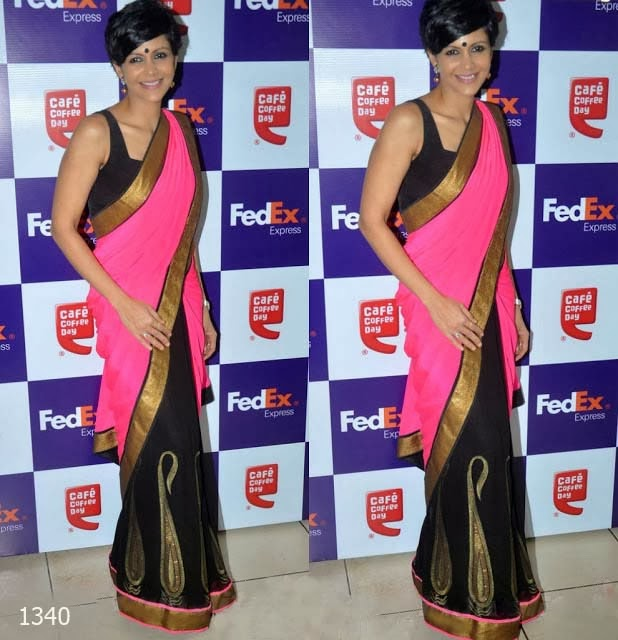 Mandira Bedi launched the FedEx Rakhi offer pink saree and black sleeveless blouse