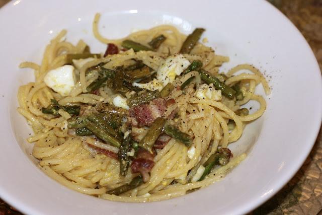 Bacon & Egg Asparagus Pasta
