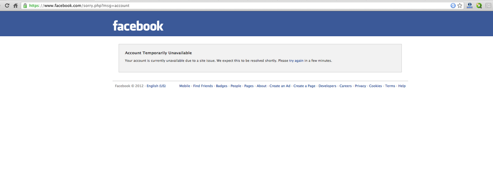 Facebook Account Temporarily Unavailable This Website Is Currently