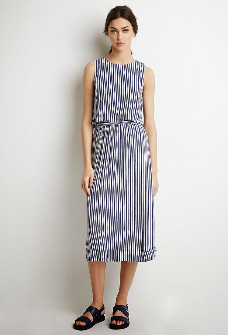 Matching Blue and White Stripe Pattern Top and Midi Skirt Set