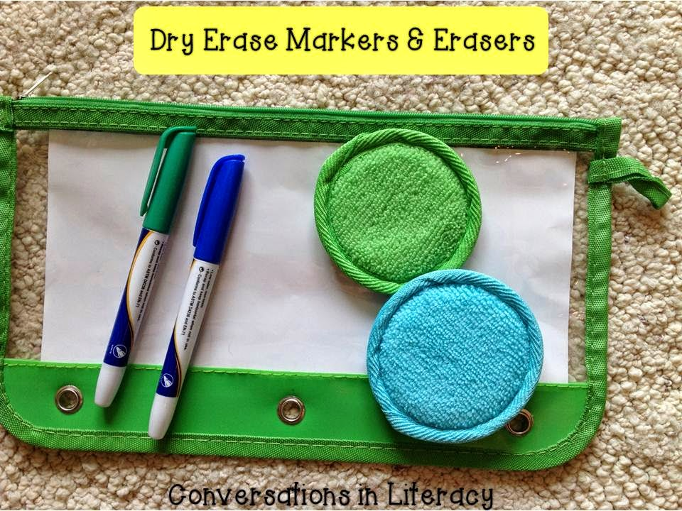 dry erase markers and erasers from Dollar Tree