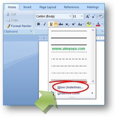 gambar menu untuk merubah garis bawah melalui toolbar