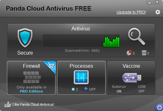 Panda Cloud Antivirus Free v2.1 - Interface