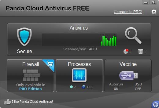 Panda Cloud Antivirus Free v2.1 - Interface