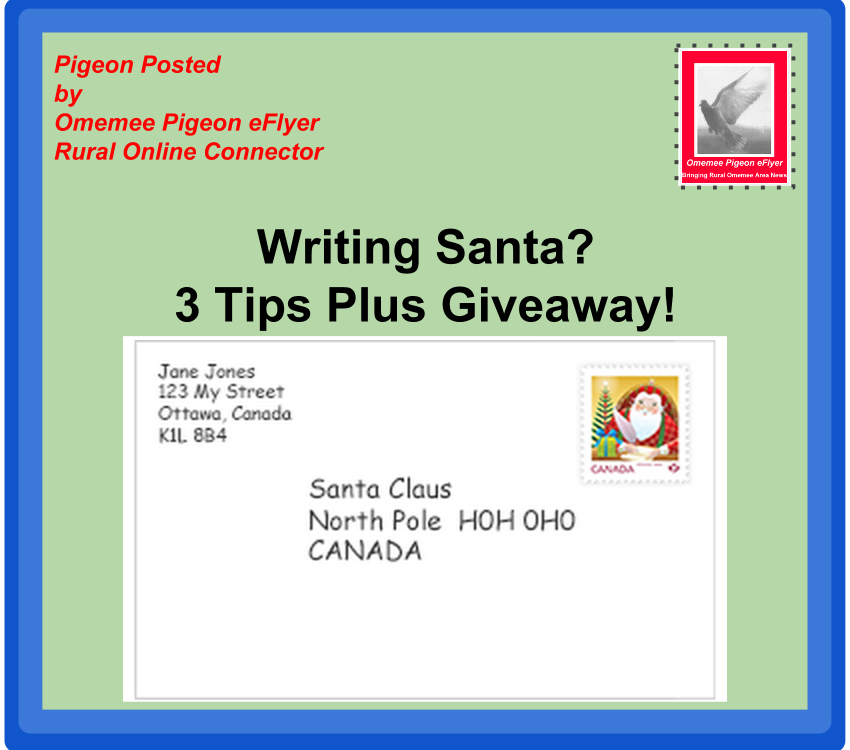Omemee pigeon eflyer writing santa letters 3 tips plus a giveaway 3 tips to ensure santa writes back spiritdancerdesigns Gallery