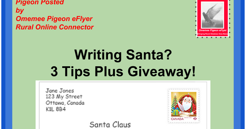 Omemee pigeon eflyer writing santa letters 3 tips plus a giveaway spiritdancerdesigns Gallery