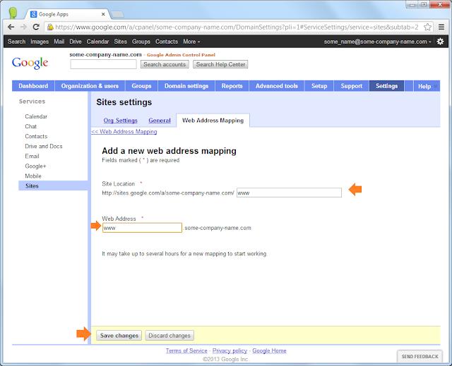 Google Sites: Customize a public site's web address