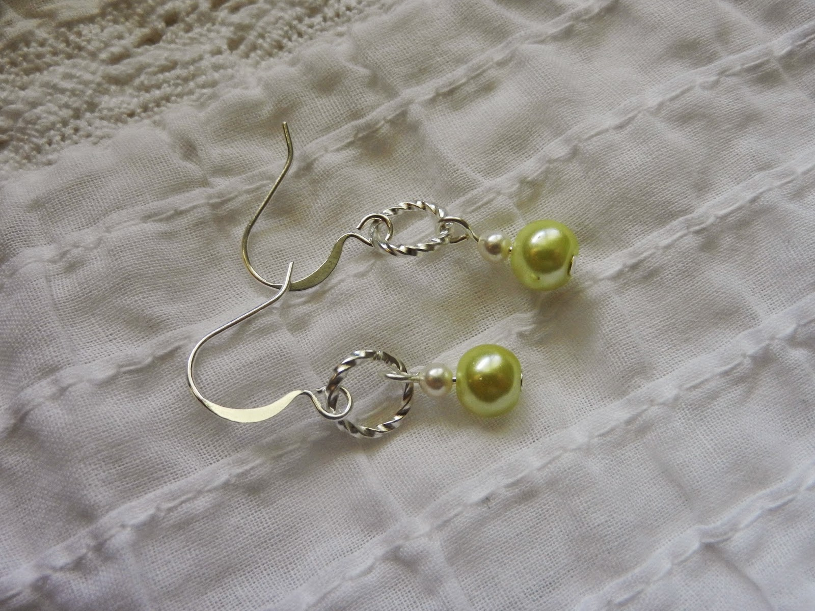 green pearl and silver dangle earrings