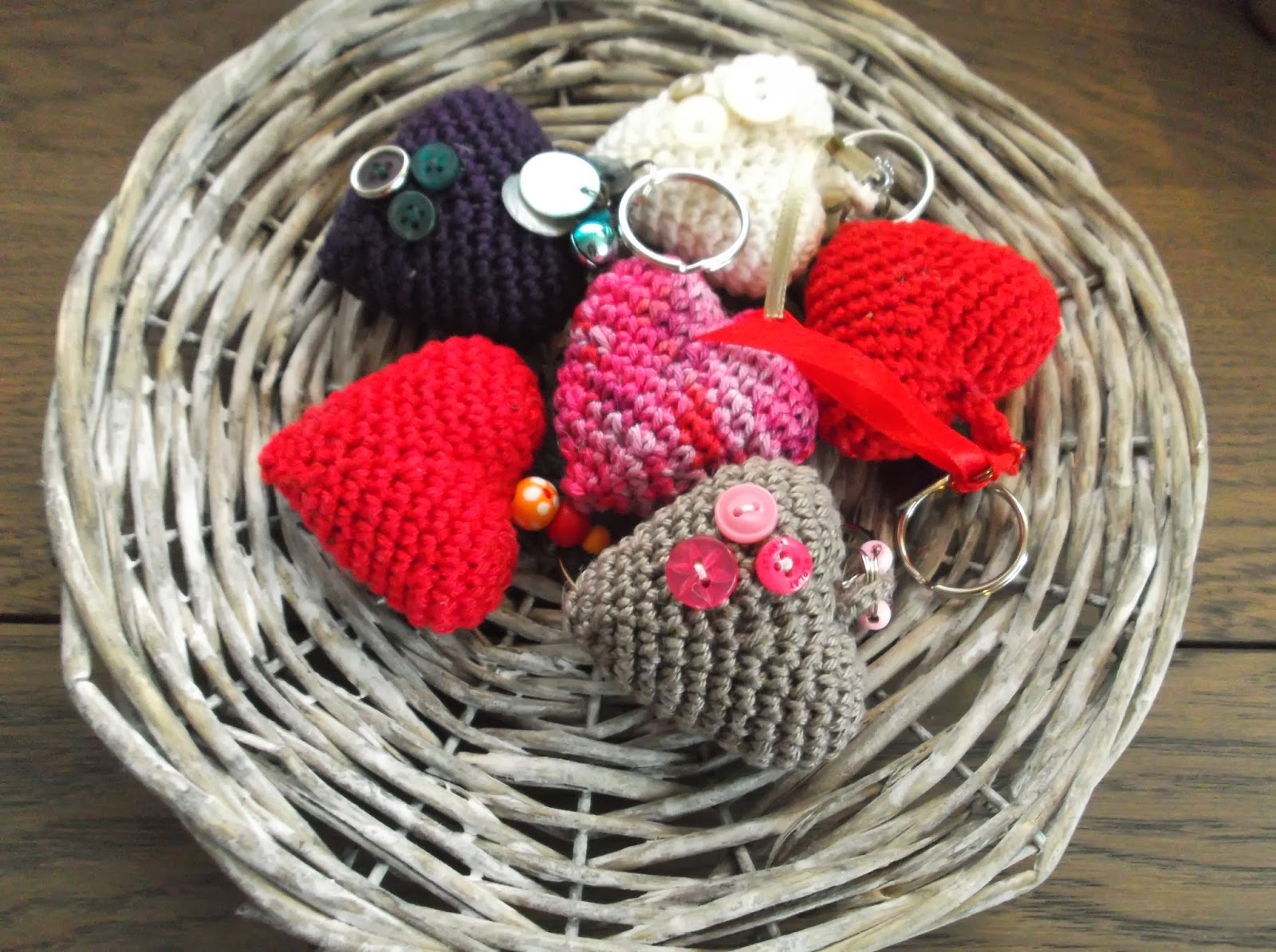 Haakydee Unieke Hartjes Sleutelhangers Unique Crocheted Heart Key
