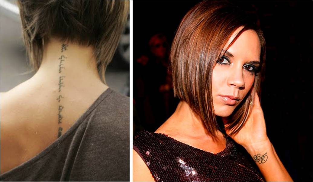 Victoria Beckham's tattoos are not that numerous, she has only 4 (if ... Victoria Beckham