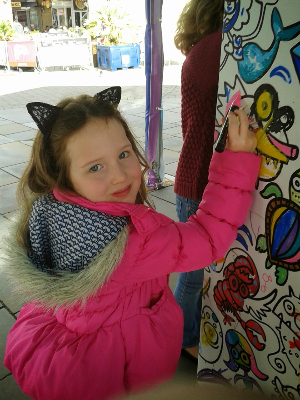 Caitlin colouring at Cardiff Bay