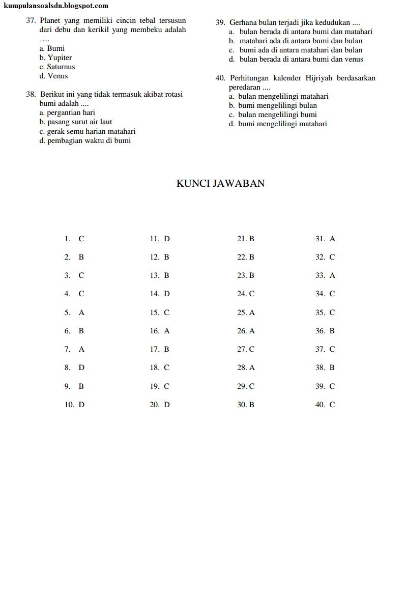 Prediksi Soal dan Kunci Jawaban US IPA 6 SD UAS 2 TA 2013-2014
