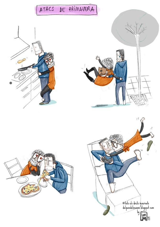 Atacs de primavera. Il·lustració còmica per Del país dels coixos ©Imma Mestre Cunillera