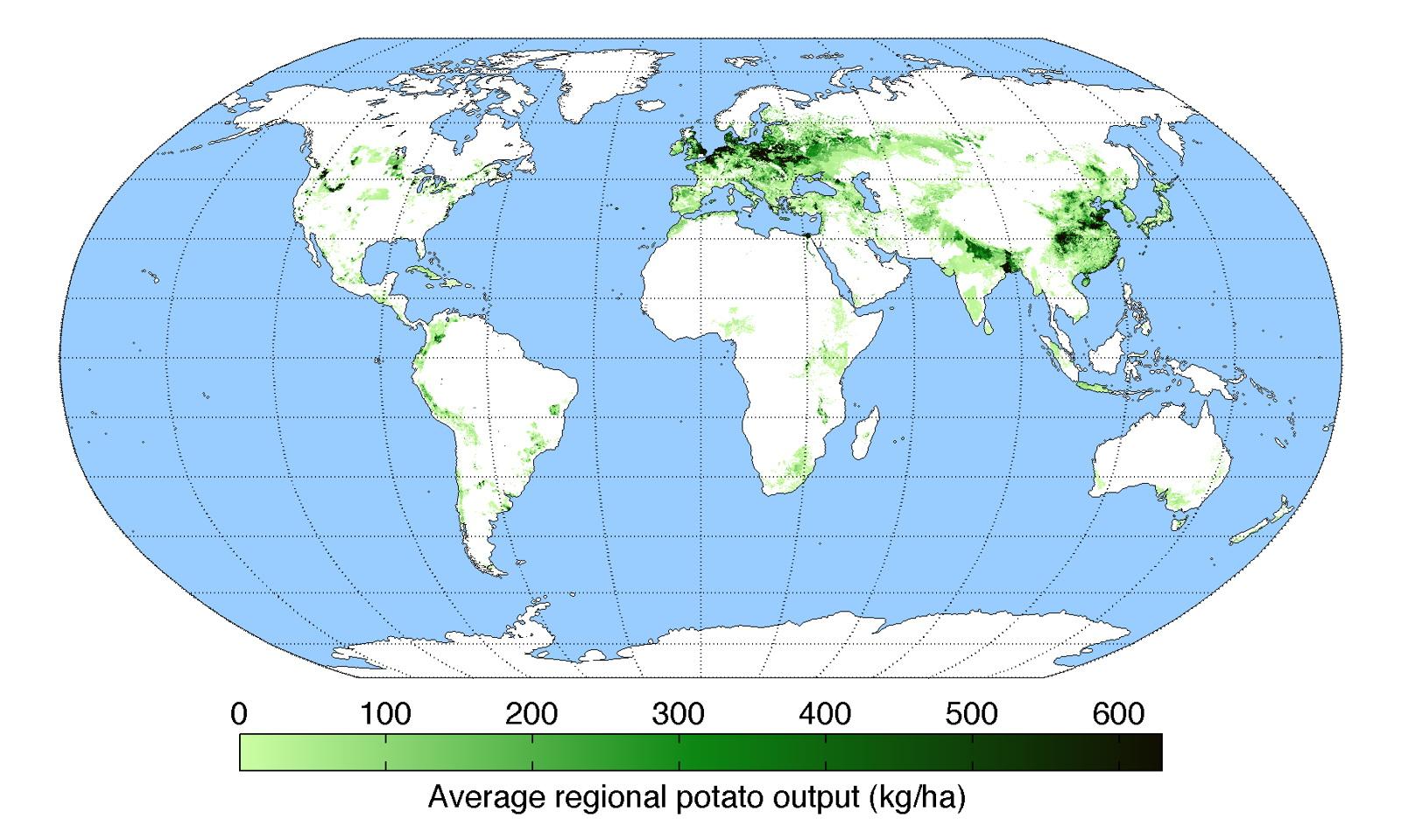 Average regional potato output