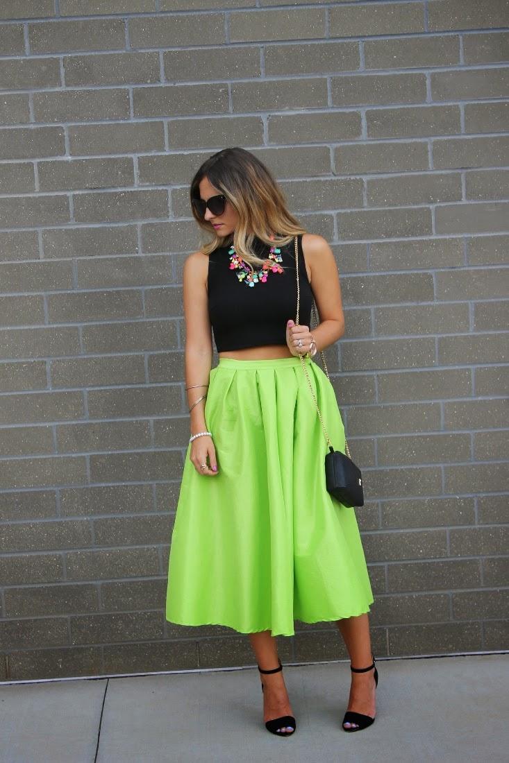 bedazzles after post crop top neon midi skirt