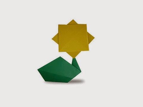 Hướng dẫn cách gấp bông hoa hướng dương bằng giấy đơn giản - Xếp hình Origami với Video clip - How to make a Sunflower