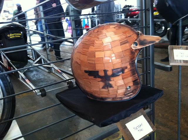 cedar shingled motorcycle helmet