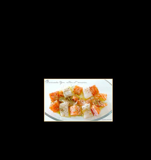 image recette Brochettes de poissons marinés au thym, romarin et citron