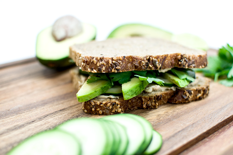Avocado sandvich close