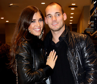 Wesley Sneijder With His Girlfriend Yolanthe Cabau