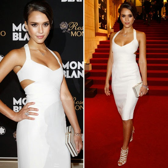 Jessica Alba White Cutout Dress