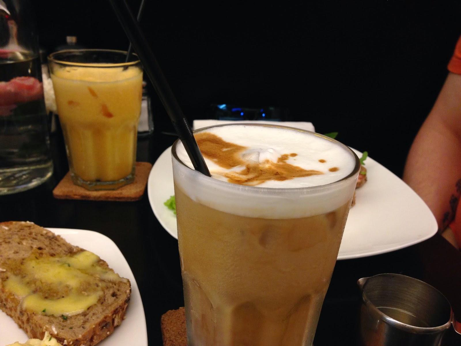 Iced Latte, Fresh Orange Juice