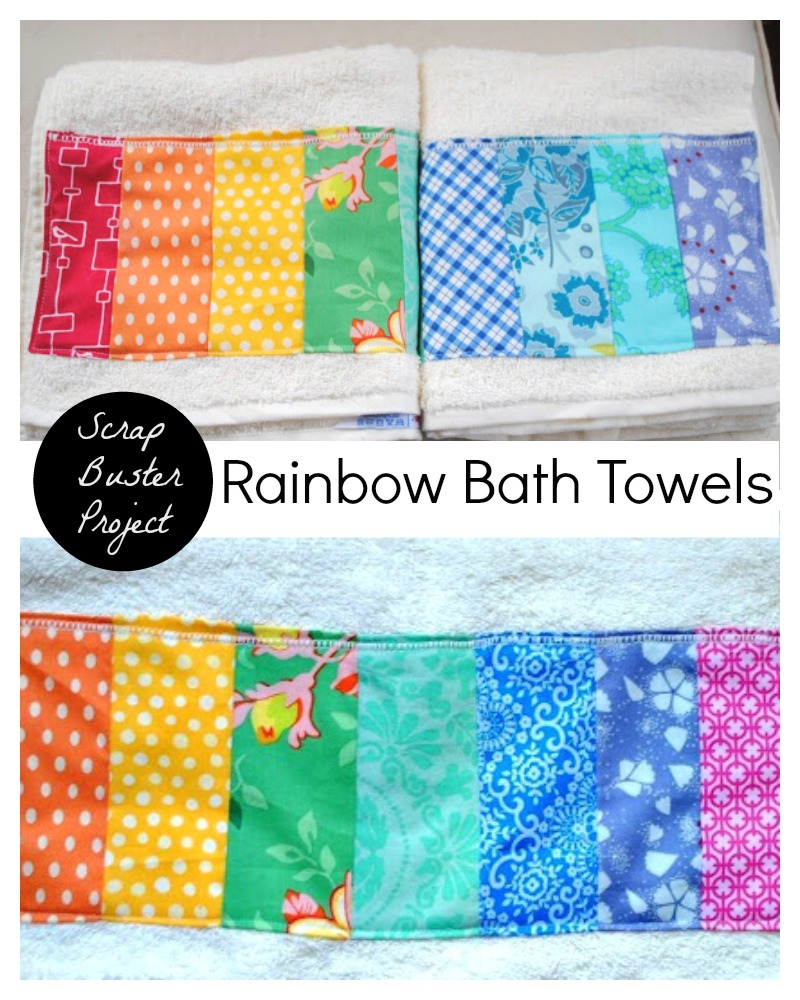 Rainbow Scrap Fabric Bath Towel Tutorial