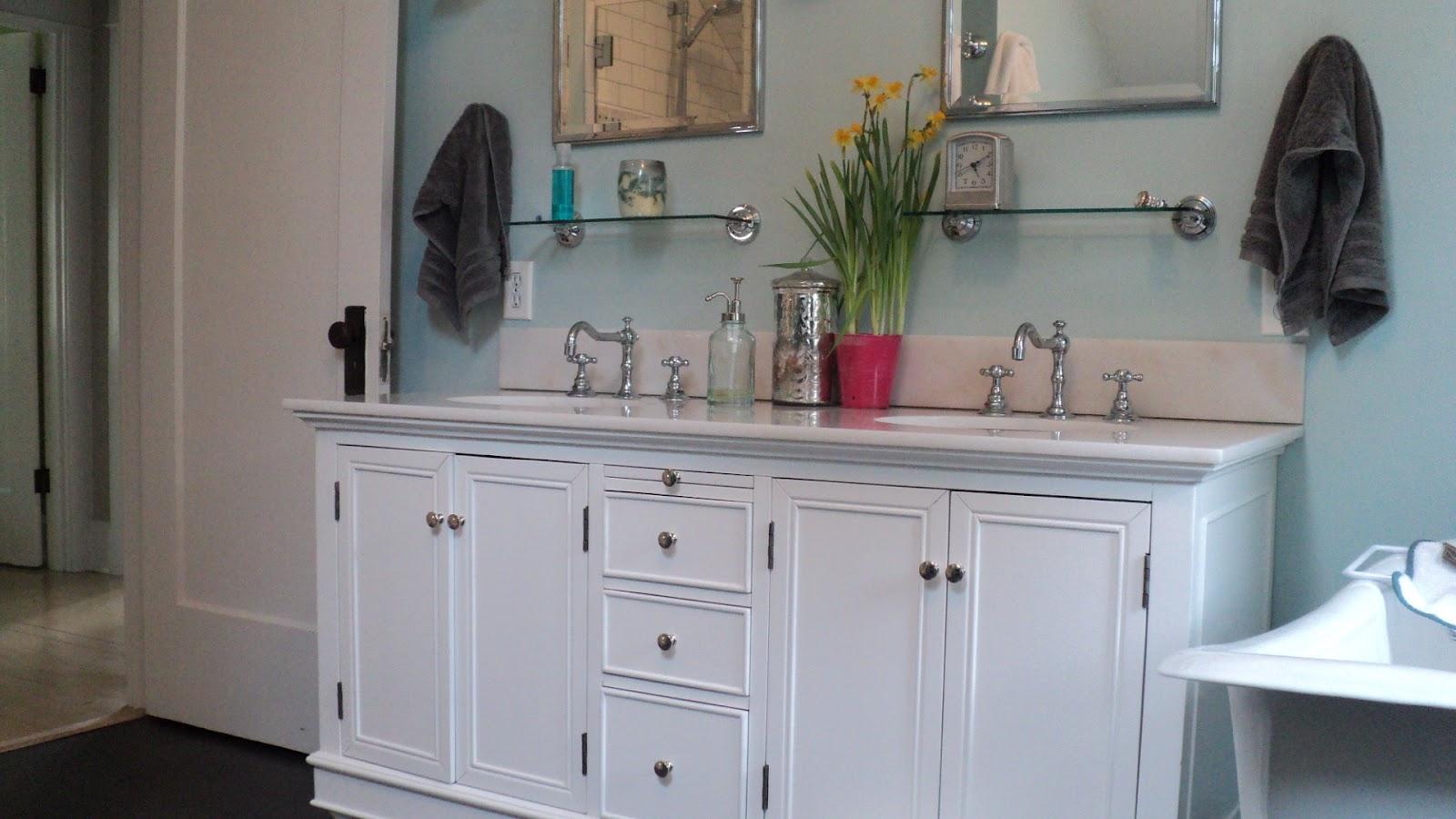 Bathroom Mirror Restoration Hardware bathroom renovation   living in the rain garden