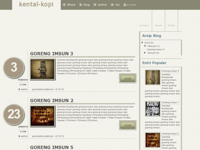 Kental Kopi Blogger Template