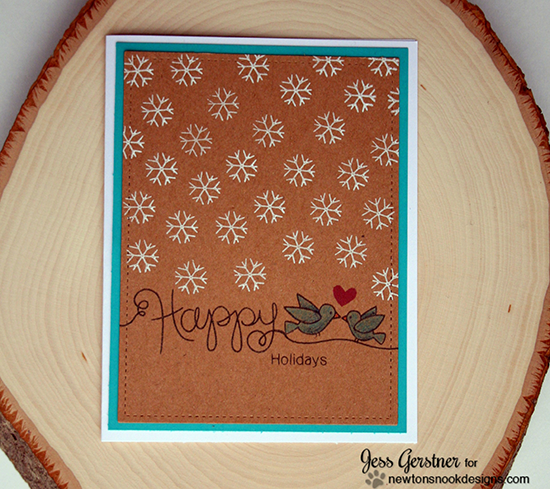 Happy Holidays card by Jess Gerstner | Stamps by Newton's Nook Designs #newtonsnook
