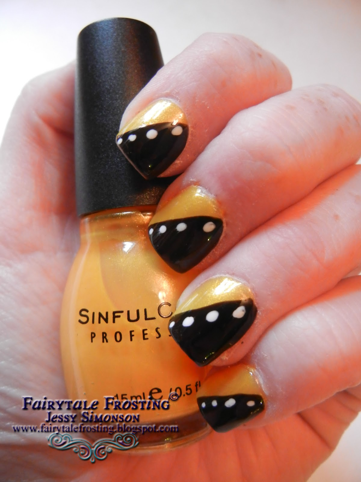 Fairytale Frosting Black Yellow And White Nail Art