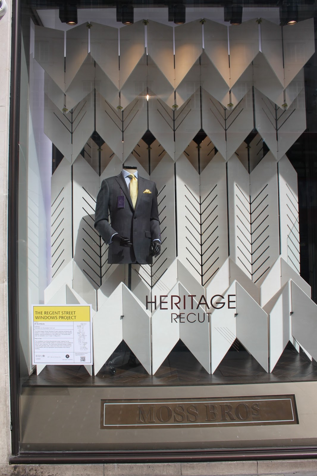 The regent street windows project 2012 - Moss Bros I Love The Understated Look Of The This Display Which Emulates The Suits Of The Brand In That They Are Sharp Clean Cut And Incurs Great Detail
