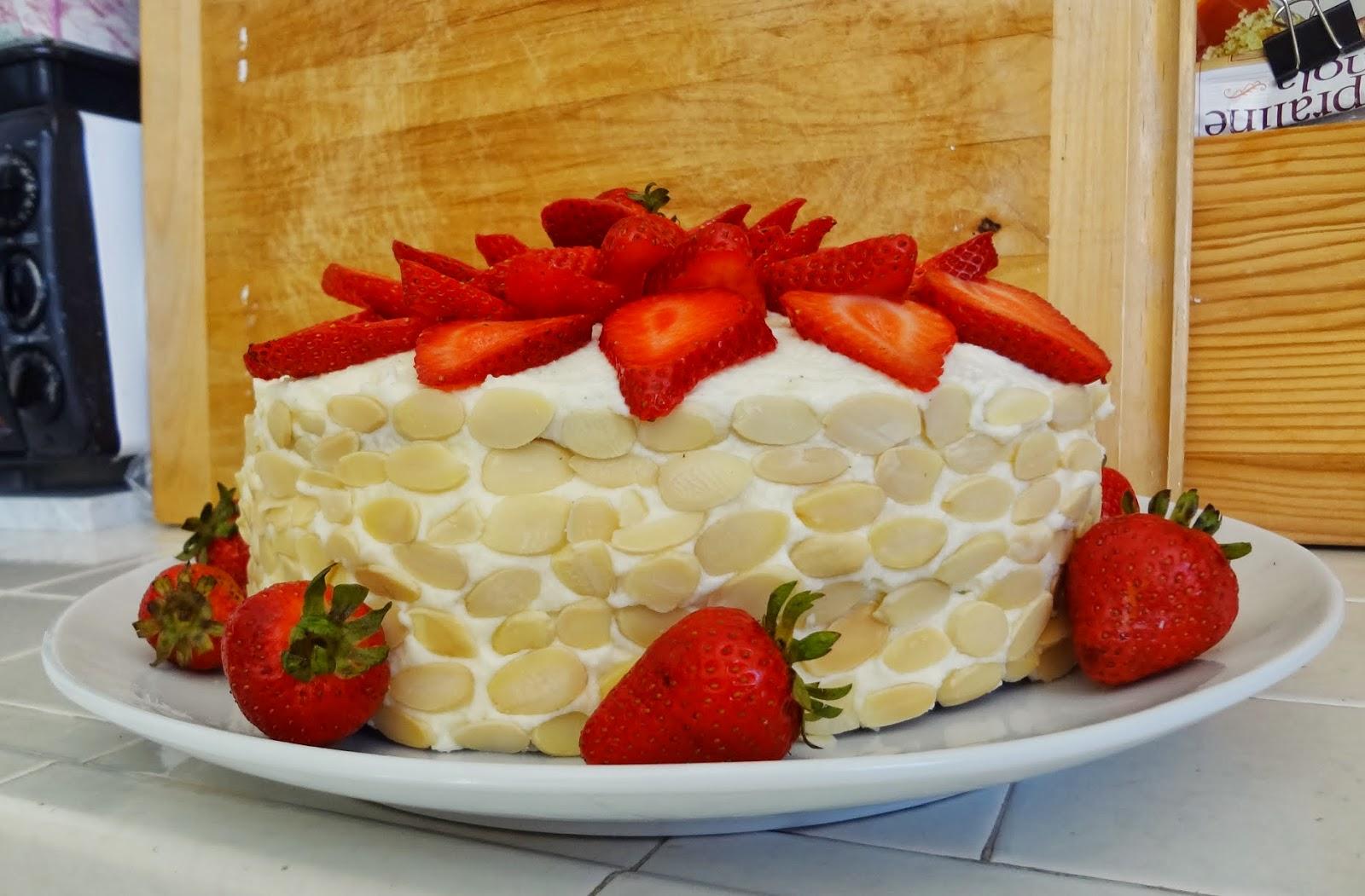 Gluten Free Strawberry Almond Cake with Mascarpone Cream