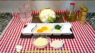 receta buñuelos de coliflor y queso