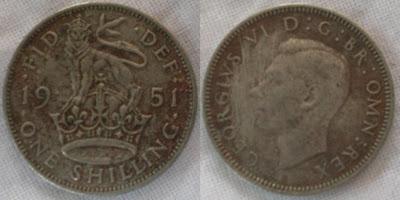 england one shilling 1951