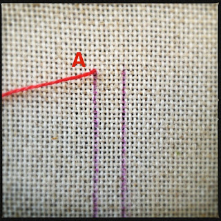 Broderisting tutorial. Vejledning med billeder. Ladder stitch - trin 1
