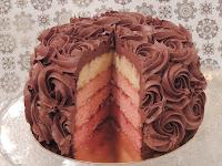 tarta ombre cake de chocolate y cuatro colores