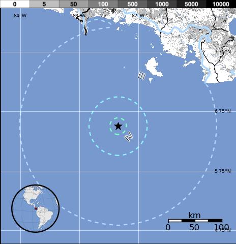 Epicentro sismo 5,5 grados en Panamá, el 27 de Diciembre 2014