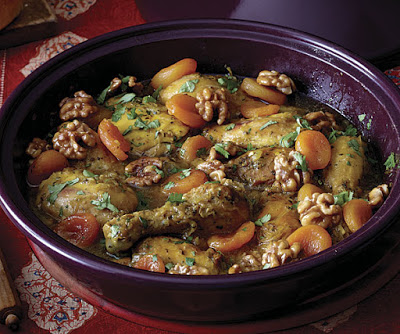 Sweet Chicken Tagine with Apricots and Caramelized Walnuts