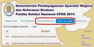 Jadwal dan Status Pendaftaran CPNS Online 2014