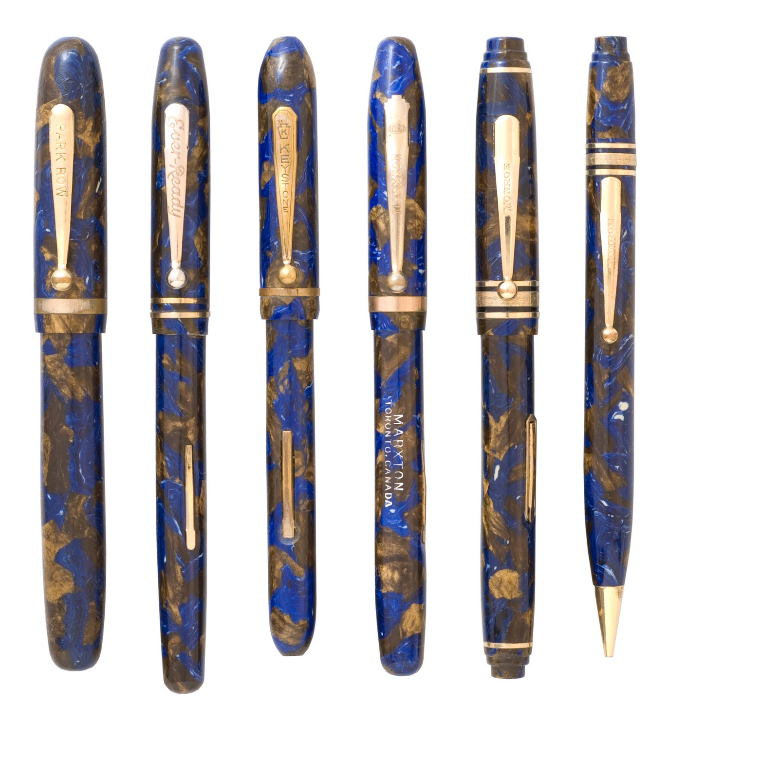 old fountain pens just for fun blue and bronze or brown and blue