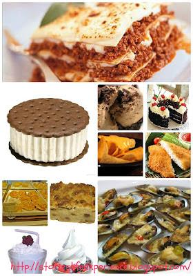 Sandwich Ice Cream, Lasagna, Yogurt, Coffee Flavored Ice Cream,, Blackforest Cake, Nachos, Fish Fillet, BreadTalk, Pudding, Milk Shake, Baked Mussels