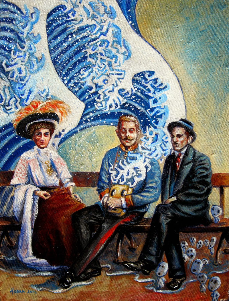 3. Franz, Sophie and Gavrilo sitting and chilling on a park bench on the D low (Washed away by the great wave of time), acrylic on cardboard, 34x26 cm, 2014.