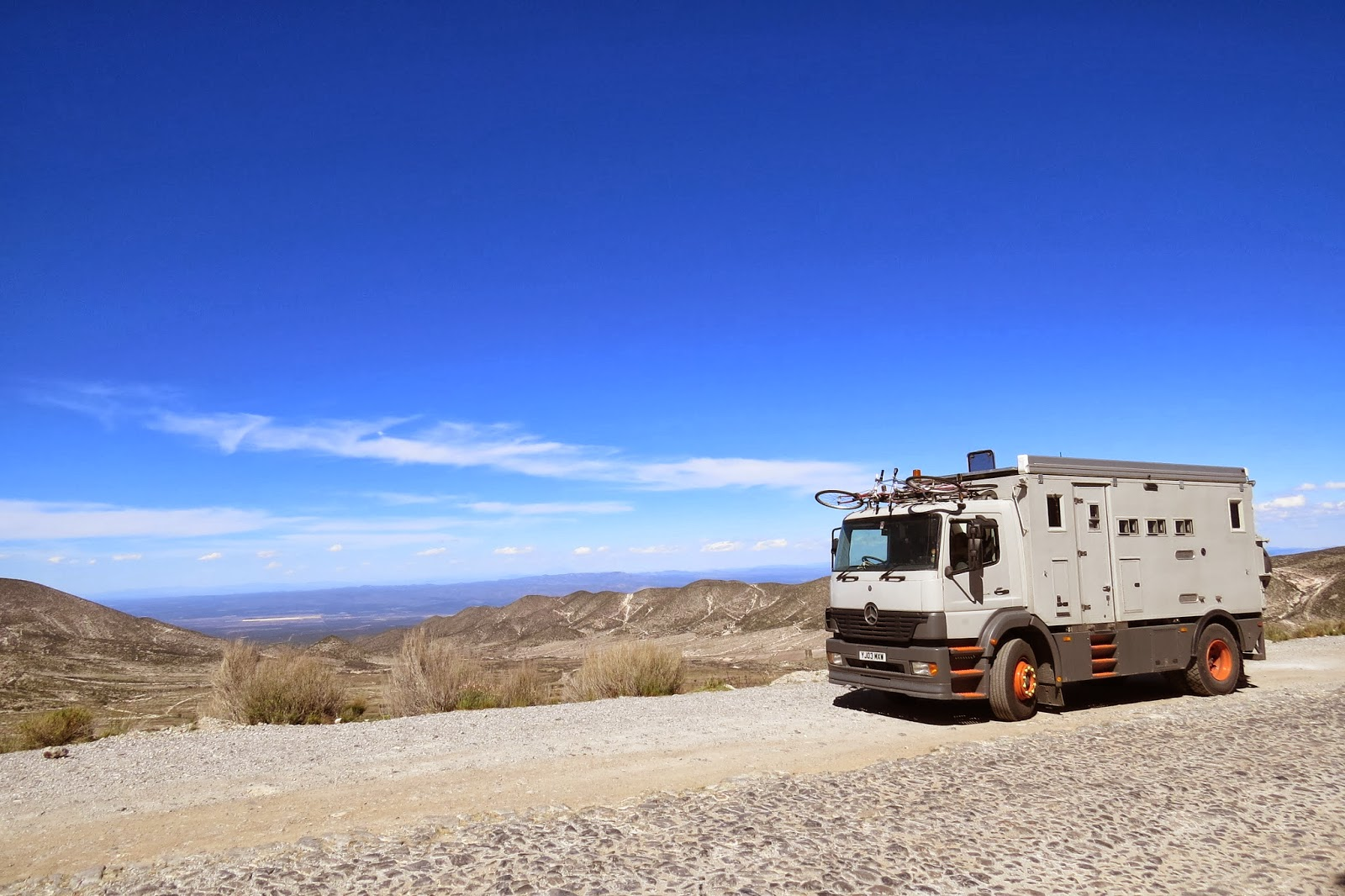 Jim the Overland Motorhome Truck, on the cobblestone road to Real de Catorce