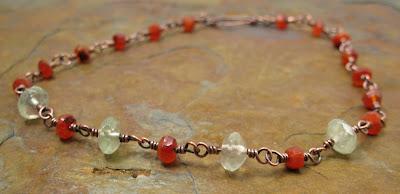 Libellula Jewelry:  Carnelian & prehnite anklet