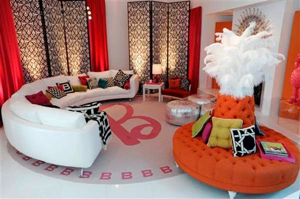 modern orange round sofa, modern white round sofa for living room interior 2015